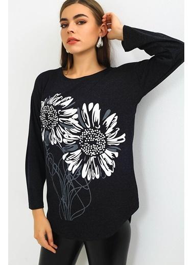 Emjey Çiçek Baskılı Bluz Siyah